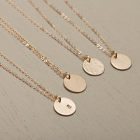Choose Your Texture, 14k Gold Fill Small Disk Necklace / Delicate Circle Tag Necklace / Personalized Pendant Monogram Engraved Tag, LN209