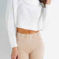Cedar Knit Crop Sweater - White
