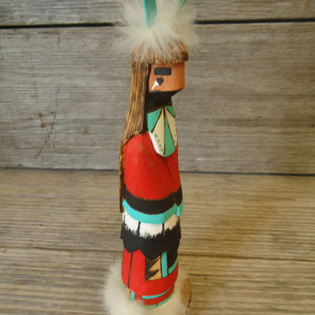 Native American Indian Folk Art Hand Carved Figurine Signed Tracy Peterson Diné Navajo