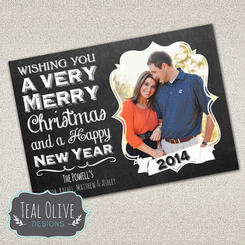 Christmas Card \ Chalkboard \ Merry Christmas \ Holiday Card \ 5x7