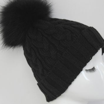 Cable Knit Raccoon Fur Pom Pom Hat Black with matching pom pom