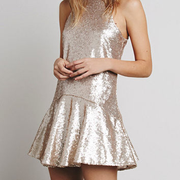 Beige Sleeveless Sequin Keyhole Back Shift Dress