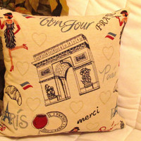 Paris embroidery – Woven tapestry throw toss pillow 18x18