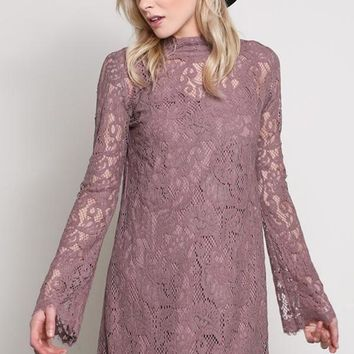 """Luxe"" Mauve Lace Shift Dress"