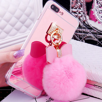Cute Fur Ball Bowknot Soft TPU Mirror Case For iphone 7 6 6S Plus Cover Fashion Bling Diamond Bowknot Metal Ring Phone Cases New