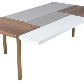 Rossmoor Coffee Table WHITE/GREY/WALNUT