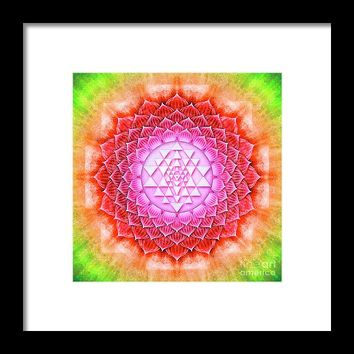 Sri Yantra - Lotus II Framed Print