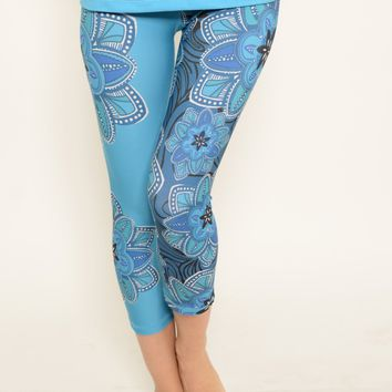 Ana Zabella Blue Floral Capri Workout Pant (with pocket)