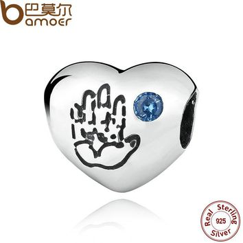 925 Sterling Silver Baby Boy Hand Blue CZ Heart Charms Beads Fit Bracelet Women DIY Jewelry Accessories PAS077