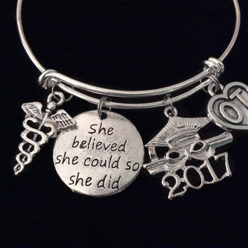 2017 Graduation She Believed Occupational Therapist Expandable Charm Bracelet Silver OT Adjustable Bangle Gift