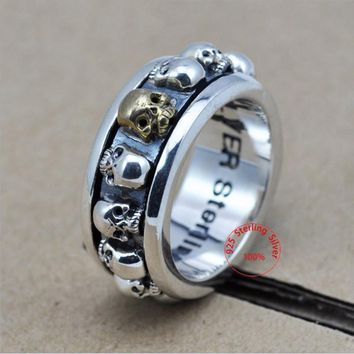 Sterling Silver Jewelry 925 Silver Ring Steampunk Men Rings Rotatable Skull Ghost Thai Silver