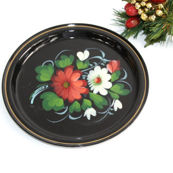 Tole Painted Metal Tray / Floral Bouquet