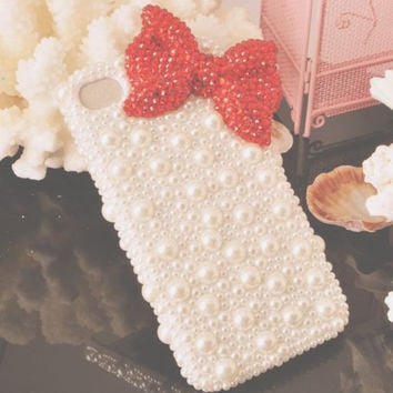 Cute Bow Pearls Mobile Phone Case Deco Den Kits for all model phone case