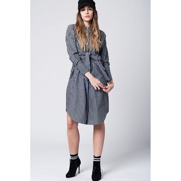 Grey stripe shirt dress with tie up detail on the waist