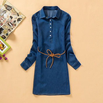 Denim Slim Plus Size Skirt Dress One Piece Dress [4917860548]