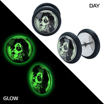 Glow in the dark ZOmbie bride earrings fake gauges plugs tapers Sold AS PAIR w 38