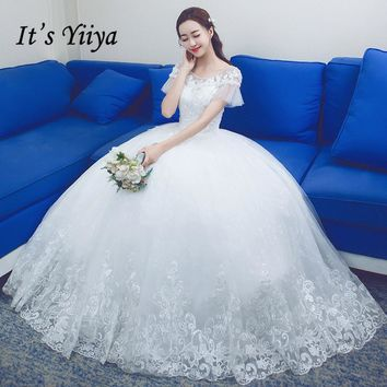 It's YiiYa Off White Hot Short Sleeve O-Neck Bride Dress Simple Pattern Embroidery Court Train High Quality Wedding Frocks D325