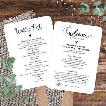 Wedding Program Template Editable Fans Fan Programs Catholic