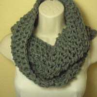 Heather Gray Cowl Infinity Circle Scarf Neckwarmer