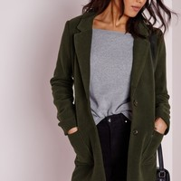 Missguided - Short Faux Wool Zipped Coat Khaki
