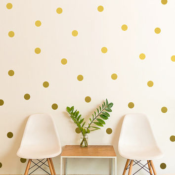 "Polka Dot Wall Decal / gift / Gold Polka Dot Decal / 2.5"" Dot sticker / Kids wall decoration / baby room decal / removable decor / gift"