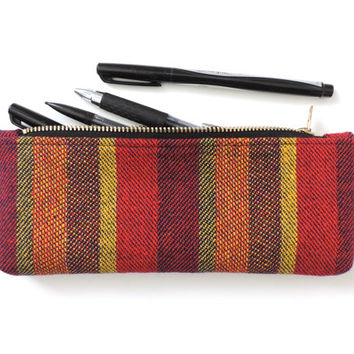 Stripe Pencil Case Pouch Short Pencil Case Wool