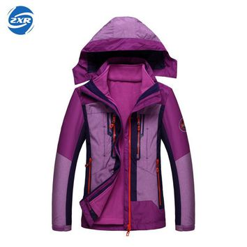 Zuoxiangru Women Winter Fleece Jackets Outdoor Sport Coats Hiking Skiing Trekking Male Female Waterproof Windproof Coat