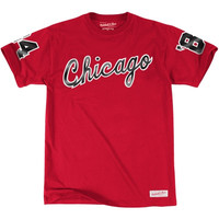 Chicago Bulls Mitchell & Ness 1984-1985 Chicago Wordmark T-Shirt – Red