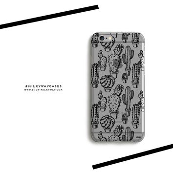 CLEARANCE iPhone 7 Clear Case Cover - Monochrome Cactus