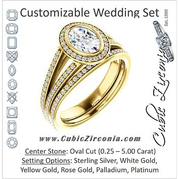 CZ Wedding Set, featuring The Maritza engagement ring (Customizable Bezel-Halo Oval Cut Style with Pavé Split Band & Euro Shank)