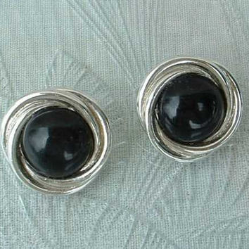 TRIFARI Black Cabochon Button Post Style Earrings Jewelry