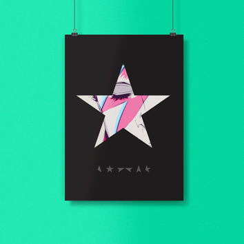 David Bowie Poster . David Bowie Blackstar Poster. David Bowie Ziggy Stardust. Wall Artwork. Multiple Sizes.