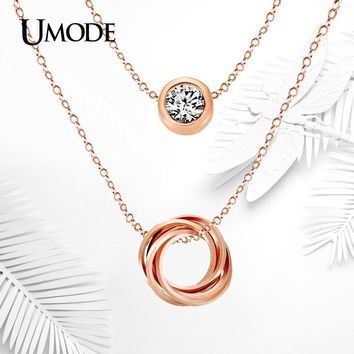 UMODE Multi Layer Genuine Austrian Rhinestones Rose Gold Color Pendant Crystal Necklace Jewelry for Women UN0119A