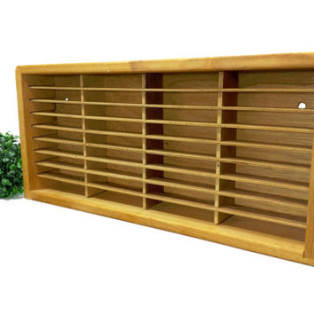Cassette Tape Holder Wood Display Case, Cubby Cabinet, Wooden Co