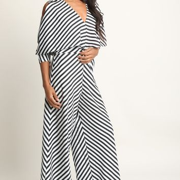 Striped Dolman Sleeve Palazzo Jumpsuit