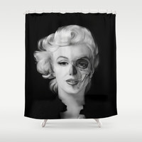 Dead Celebrities Series Half Skull Shower Curtain by Kristy Patterson Design