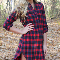 Fall Flannel Dress - Red and Navy