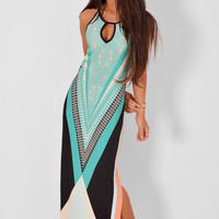 Sleeveless Geo Print Cutout Front Maxi Dress