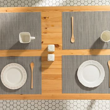 Slate Gray Woven Table Placemats