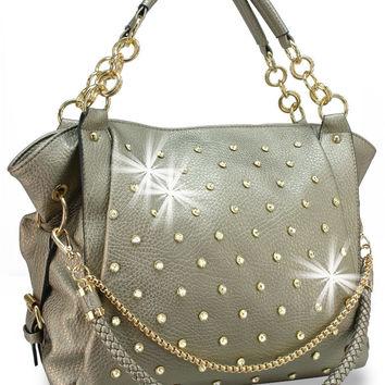 * Rhinestone and Chain Accented Fashion Handbag In Pewter