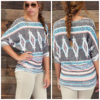 Pinetop Print Gray Aztec Top