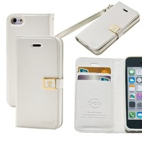 iPhone 5c Case,By Ailun,Wallet Case,PU Leather Case,Credit Card Holder,Flip Cover Case[White]