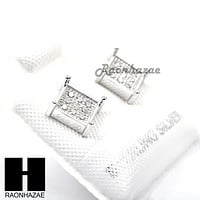 Iced Out Sterling Silver .925 Lab Diamond 6mm Square Push Back Earring SE007S