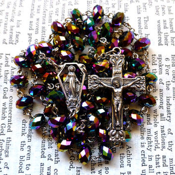 Miraculous Medal Rosary - Catholic Rosary, Immaculate Conception, Faceted Purple Iris Glass Rondelles
