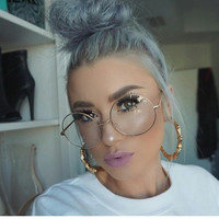 Clear Glasses Myopia Glasses Round Big Frame Transparent Women Men Clear Lens Optical Clear Aviator Glasses Lunette 2017 COOL