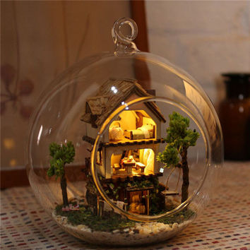 DIY Handcraft Miniature Project Kit Glass Ball Series LED Lights Dolls House Home Decor