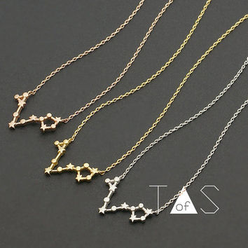 Pisces Constellation Necklace / Zodiac Necklace / Star Sign Gold Necklace