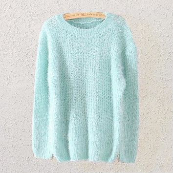 LMFONX5H Womens Mint Green Mohair Knit Sweater