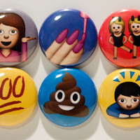 "Set of 6 Emoji 1"" Pinback Buttons"