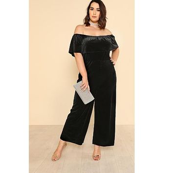 Flounce Off Shoulder Wide Leg Velvet Jumpsuit
